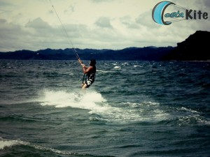 Water start kiteboarding